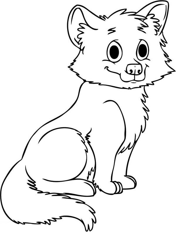 600x788 Cute Baby Wolf Coloring Page