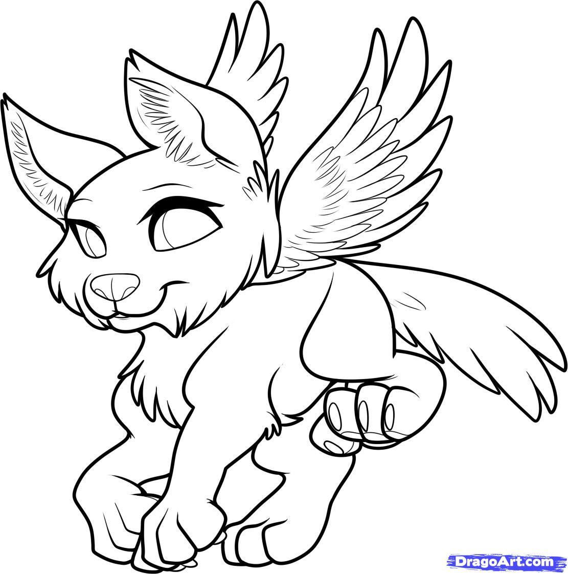 1111x1122 Cute Wolf Coloring Pages Remarkable Anime With Wings Page And Co