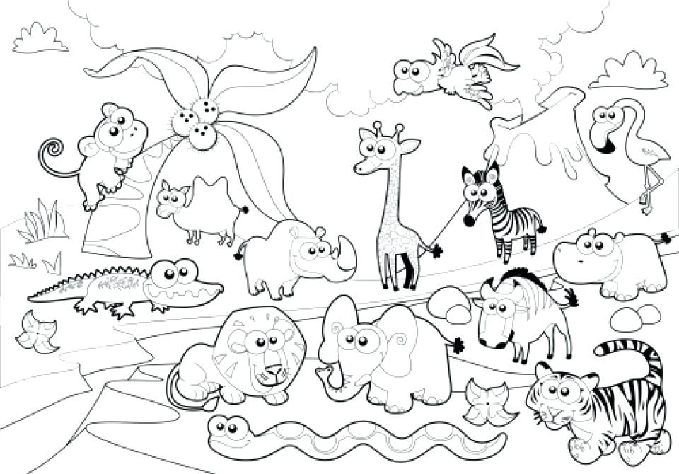 960x670 Coloring Pages Of Zoo Animals For Preschool Interesting Zoo