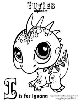 309x400 Creative Cuties Iguana Coloring Page Coloring