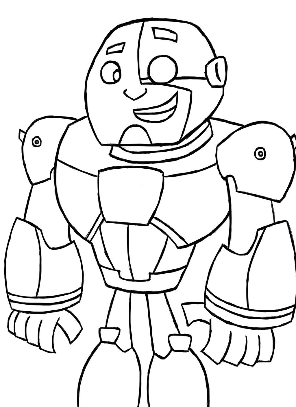 1024x1407 Teen Titans Cyborg Coloring Page