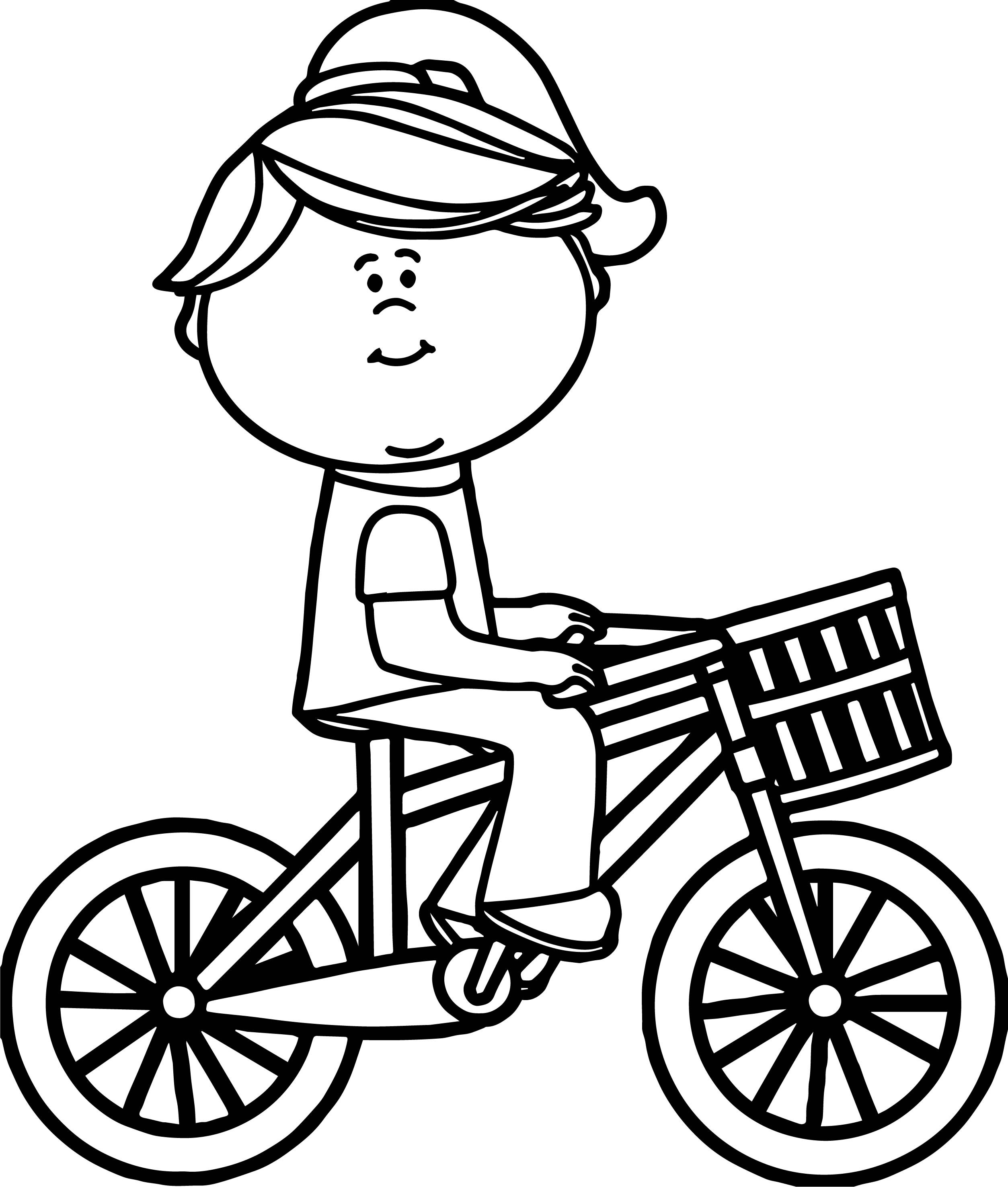2507x2953 Girl Riding Bicycle With Basket Coloring Page Wecoloringpage