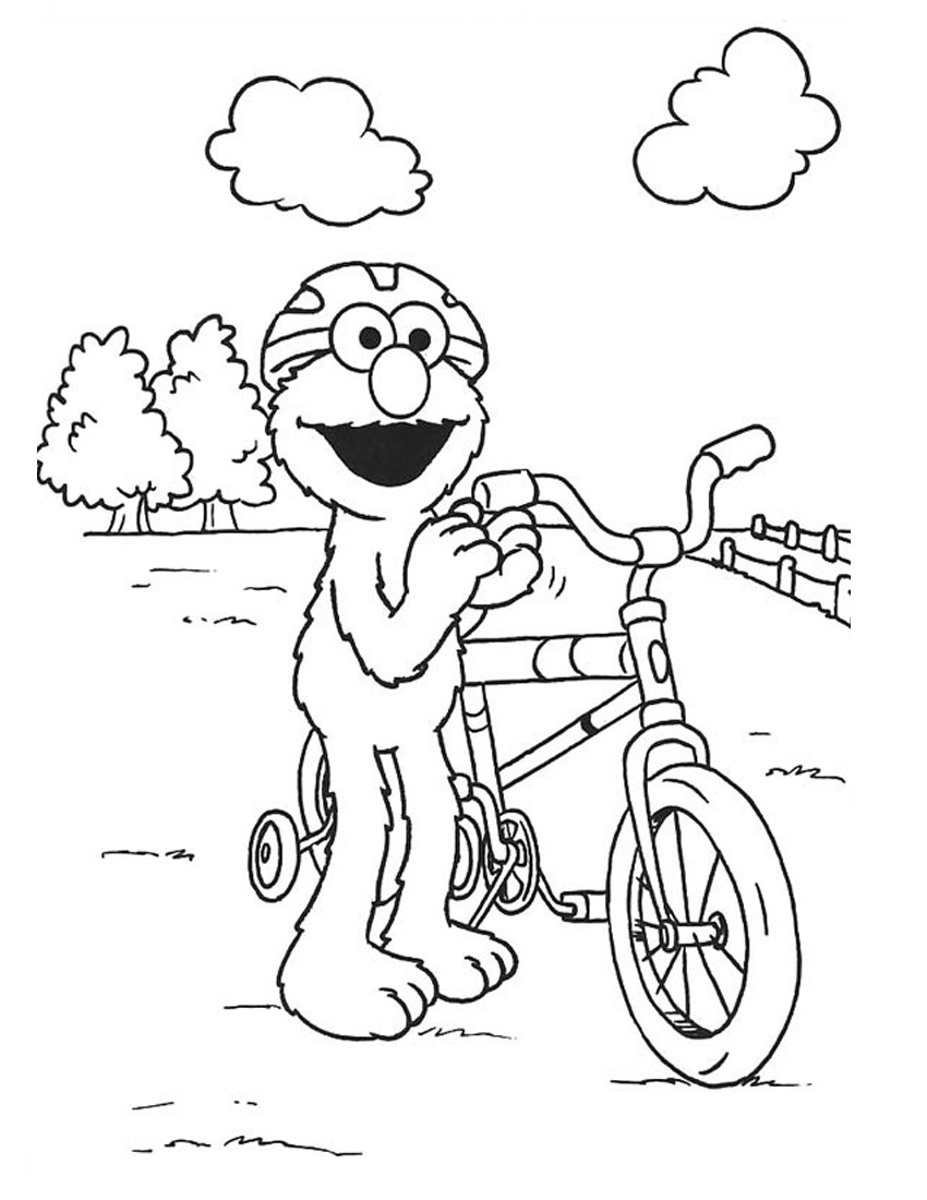 850x1100 Bicycle Elmo Coloring Pages Free Printable Coloring Pages For Kids