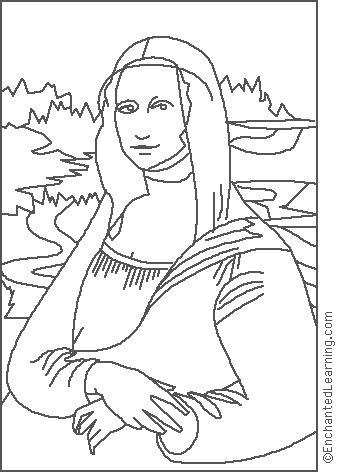 340x472 Leonardo Da Vinci Mona Lisa Coloring Page