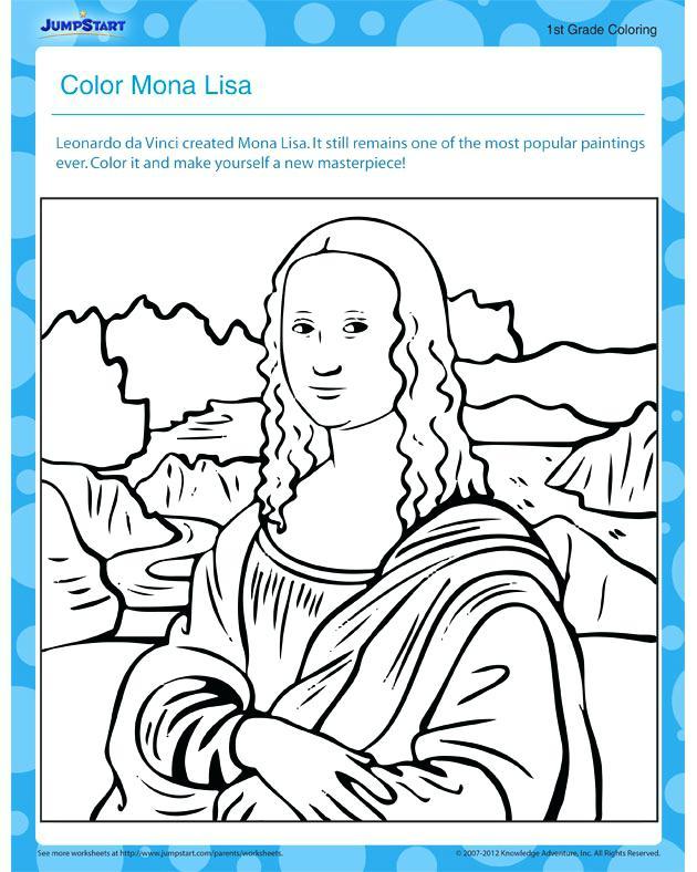 630x788 Mona Lisa Coloring Page As Well As Coloring Page Leonardo Da Vinci