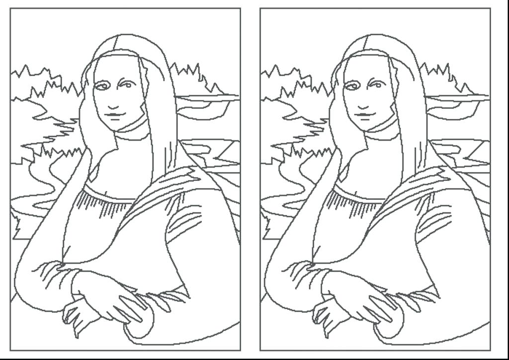 1024x724 Mona Lisa Coloring Page Coloring Page Elegant Simple Excellent