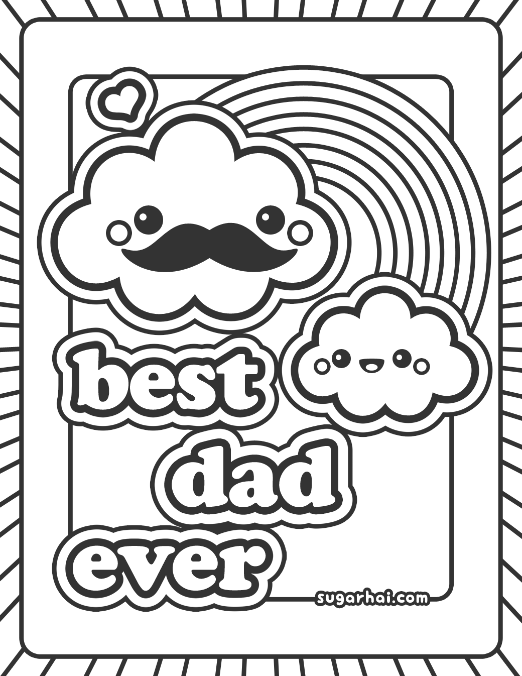 1040x1346 Free Best Dad Ever Coloring Page Dads, Cloud And Kawaii