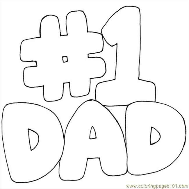 650x650 Number One Dad Coloring Page