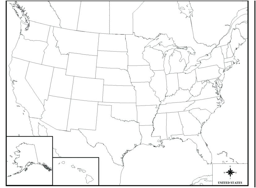 827x609 United States Map Coloring Page Easily United States Map Coloring