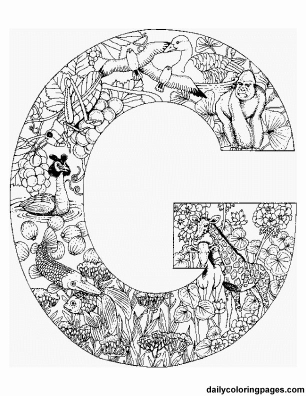 612x792 Free Printable Coloring Pages Letters That Are Filled