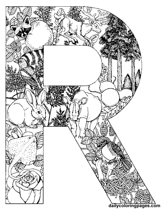 612x792 R Letter Filled With R Words