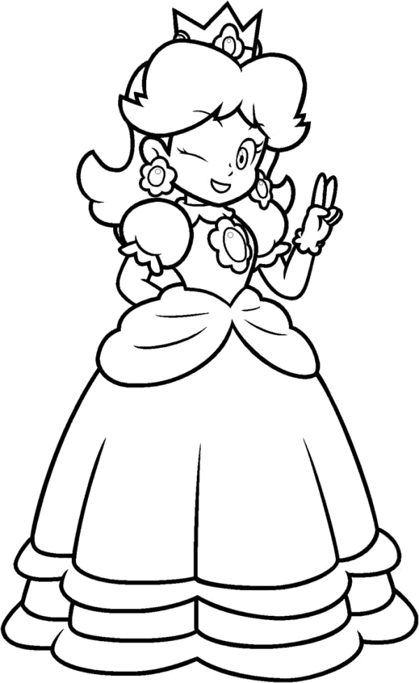 600x978 Daisy Mario Coloring Pages