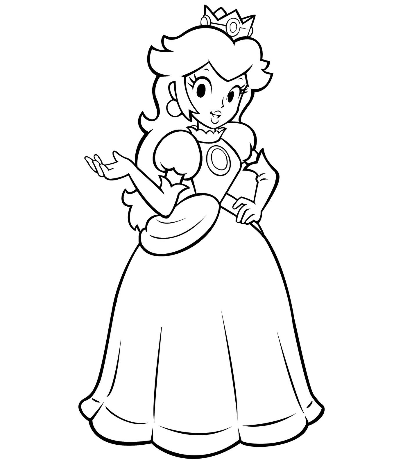 1387x1600 Mario Princess Daisy Coloring Page Free Printable Pages Throughout