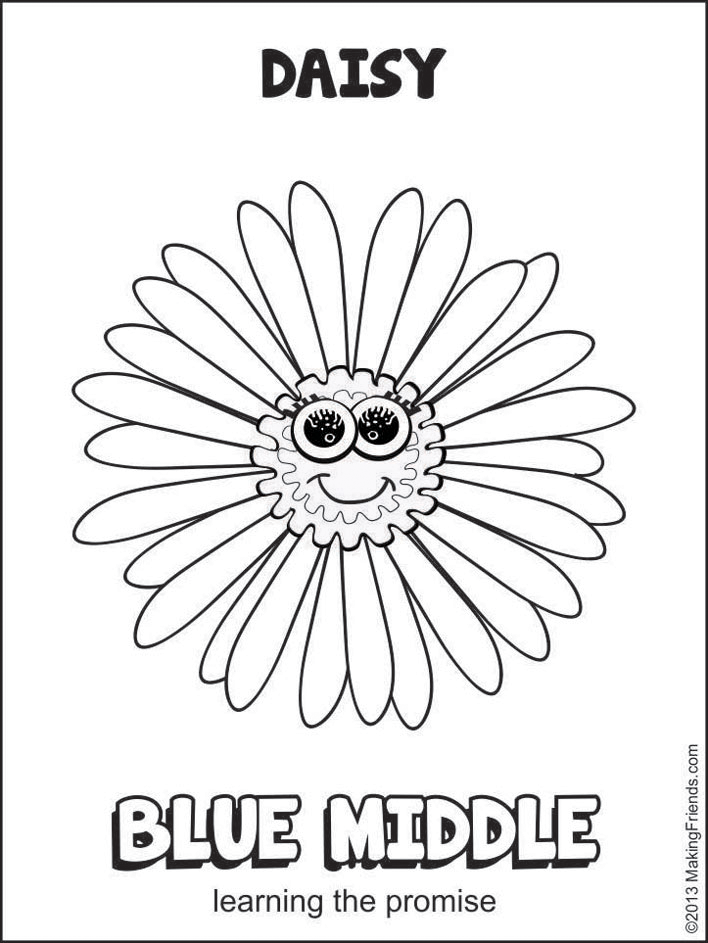 708x943 Blue Middle Daisy Petal Coloring Page Get Your Daisy Girl Scouts