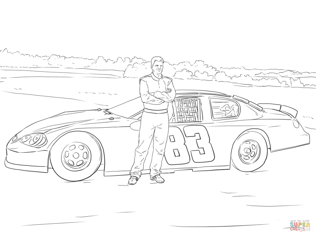 1024x768 Dale Earnhardt Jr With His Car Coloring Page Download