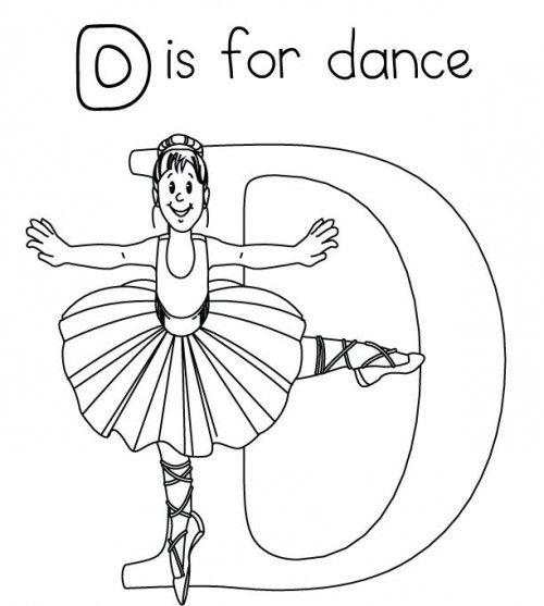 500x557 Letter D Is For Dance Coloring Page Dance Teacher Tips Ideas