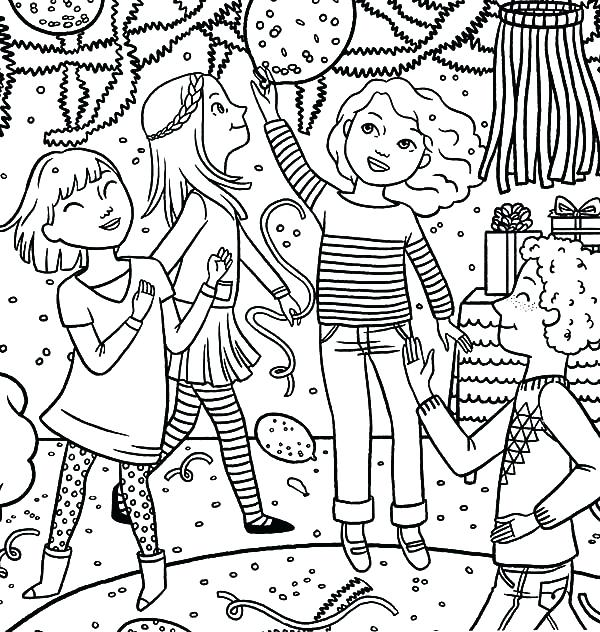 600x632 Party Coloring Pages Dancing Together Birthday Party Coloring