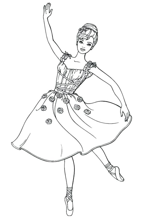600x840 Ballet Coloring Page Barbie Doll Dancing Ballet Coloring Page