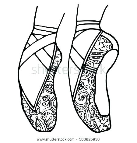 450x470 Pointe Shoes Coloring Pages Coloring Page Shoes Coloring Pages