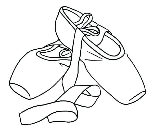 600x523 Pointe Shoes Coloring Pages Shoes Coloring Printable Page Coloring