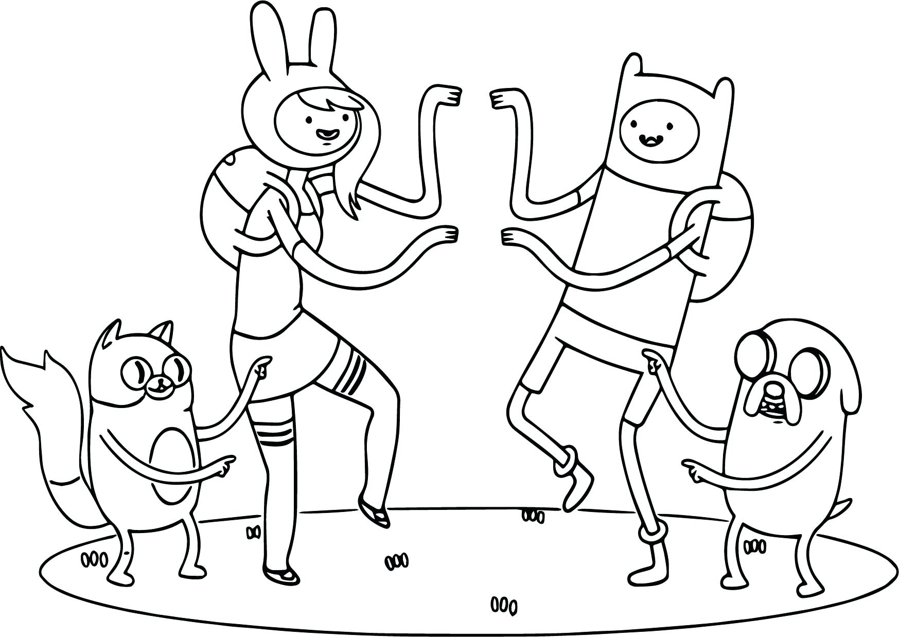 1747x1238 Coloring Pages Thanksgiving Disney Adventure Time Team Dance Page