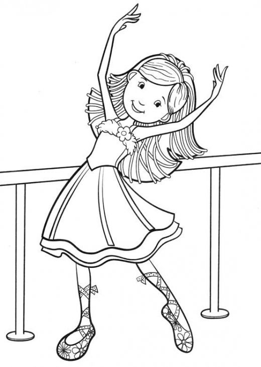 520x730 Little Ballet Dancer Smiling Coloring Page Fun Coloring Pages
