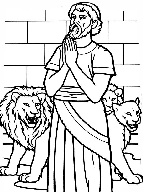 600x802 Daniel Pray To God In Daniel And The Lions Den Coloring Page
