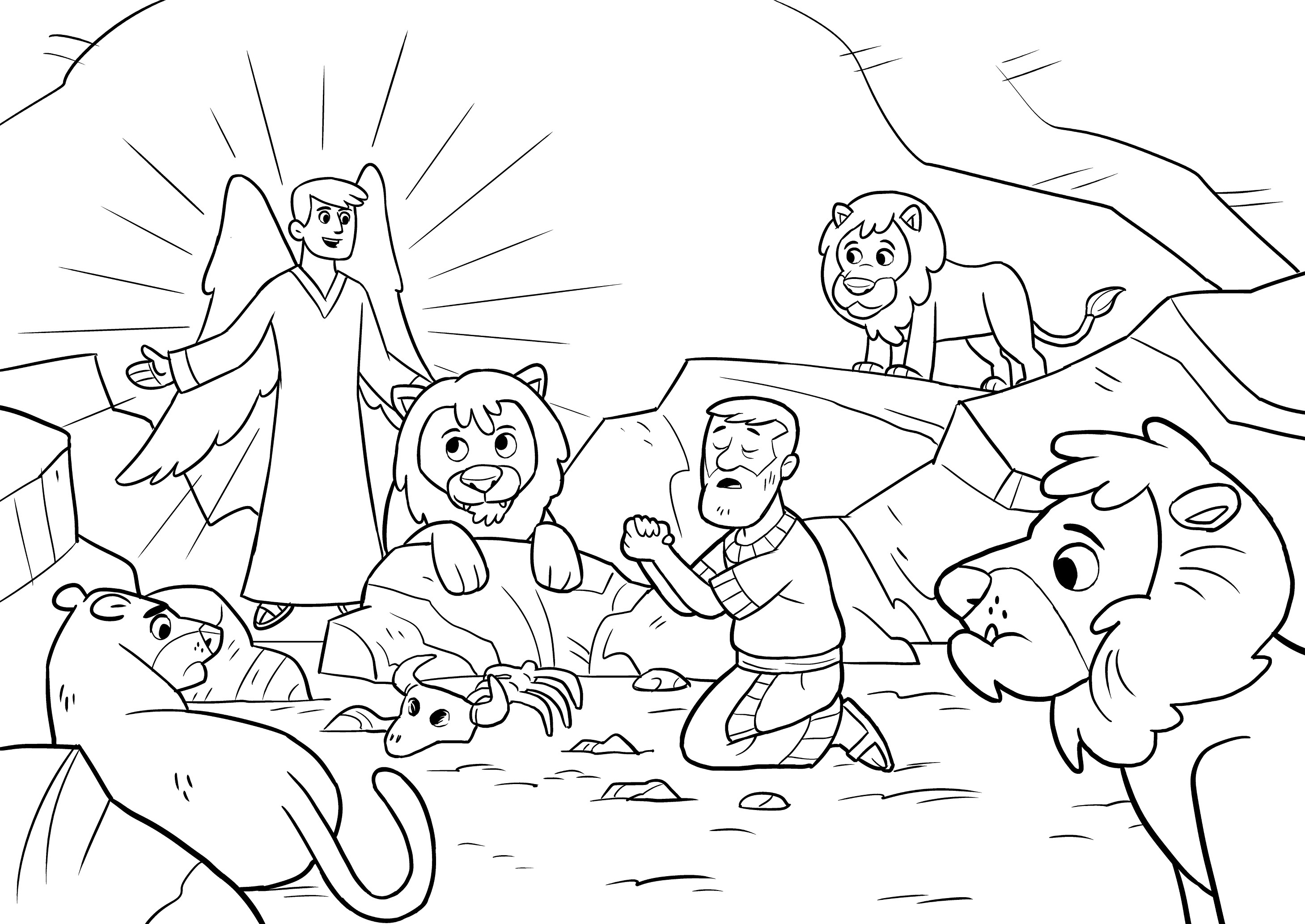 2918x2067 Shrewd Daniel And The Lions Den For Kids Wonderful Coloring Page