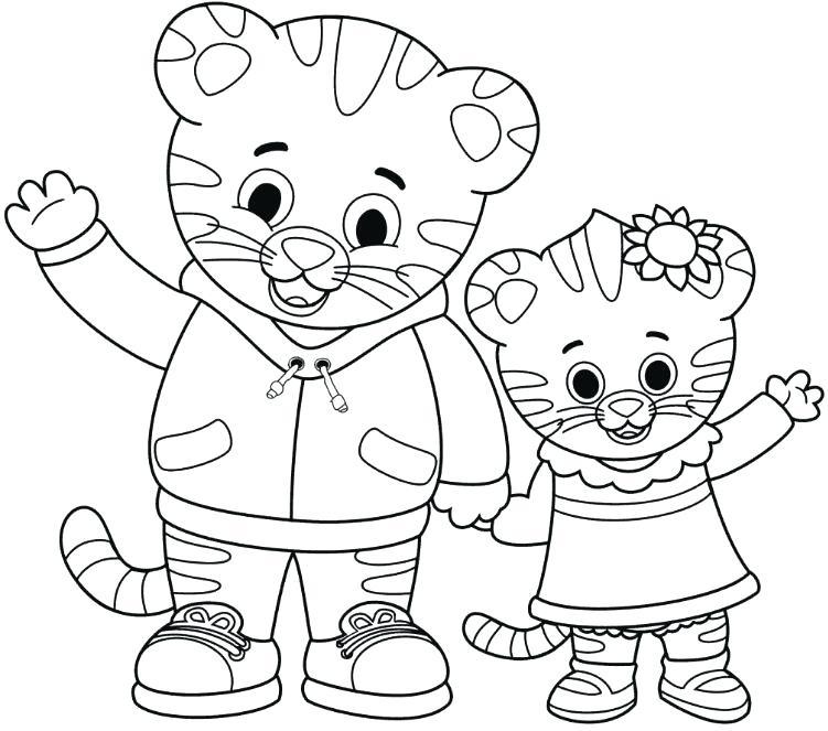 751x663 Daniel Tiger Coloring Page Coloring Page Tiger Drawing Board