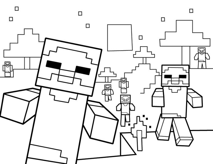 736x568 Free Coloring Pages For Girls Minecraft Cutouts Blocks World