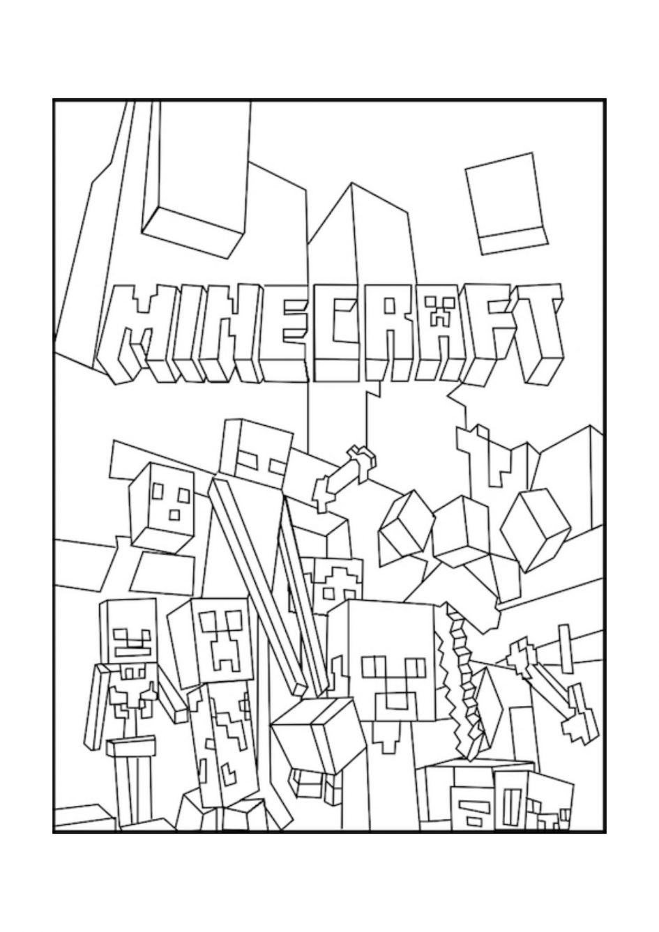 945x1337 Coloring Pages Of Minecraft Best Mobs Free Printable Pictures
