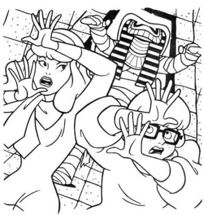 421x444 Mummy Chasing Velma And Daphne Coloring Page Animal Pages