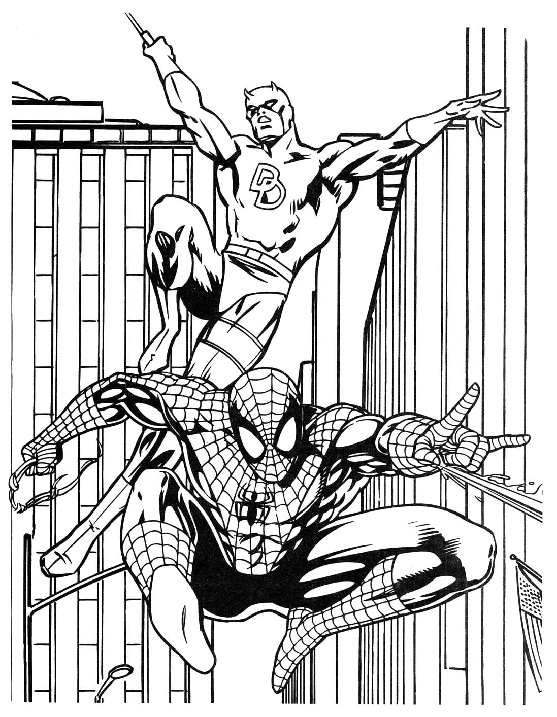 1097x1413 Batman And Spiderman Coloring Pages Free For Kids Picturesque