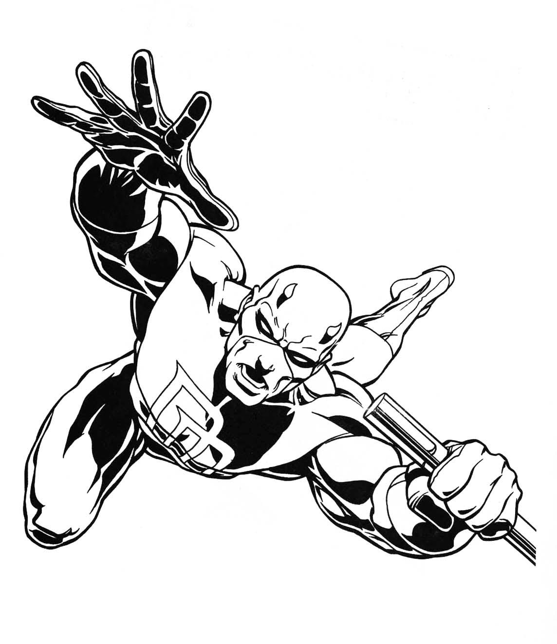 1144x1324 Movies Marvel Daredevil Coloring Page To Print For Pages