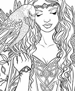 247x300 Cosy Gothic Coloring Pages For Adults Printable To Print Fairy