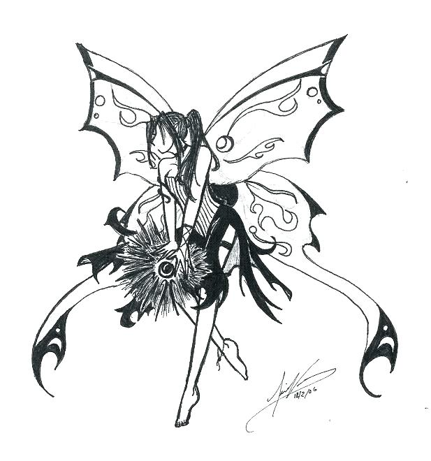 617x660 Gothic Fairy Coloring Pages