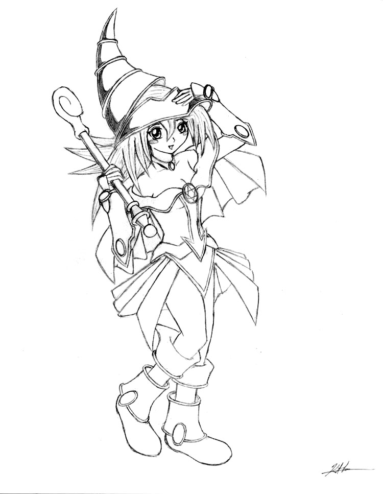 750x967 Dark Magician Girl Lineart