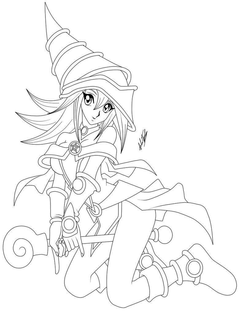 779x1025 Dark Magician Girl Lineart