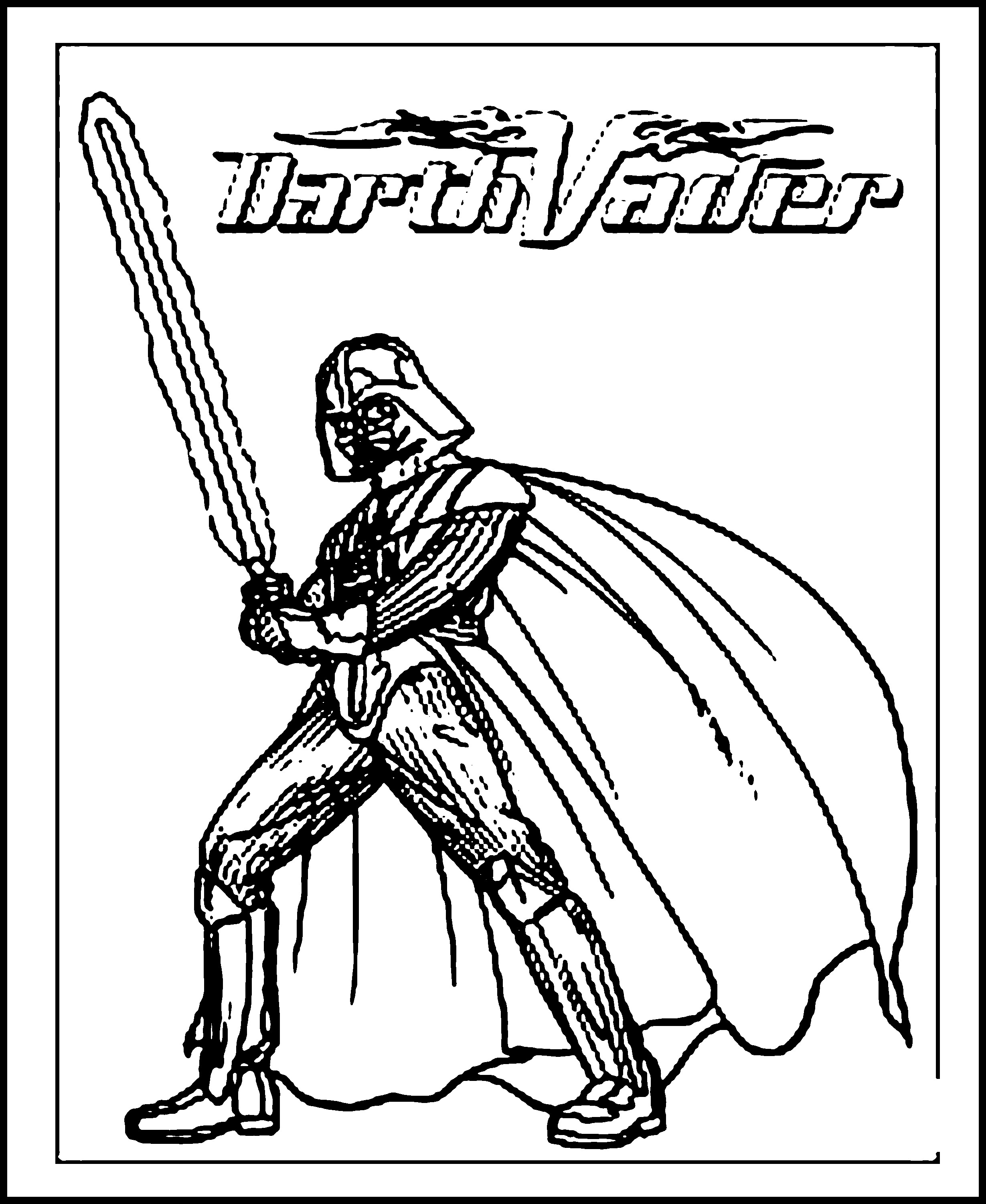 2459x3003 Darth Vader Ready With His Sword Free Coloring Page Kids, Movies