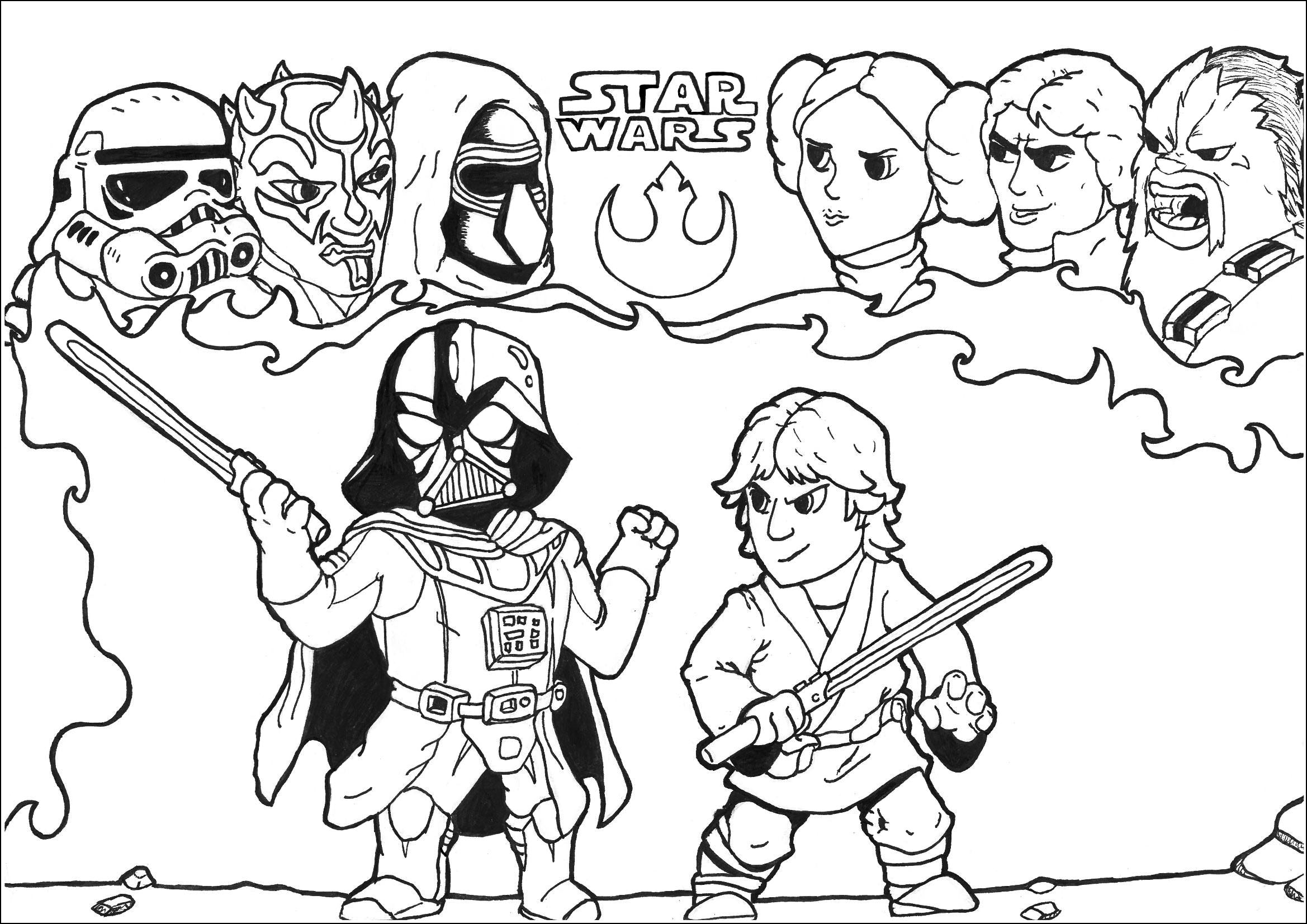 2338x1653 Darth Vader And Luke Skywalker Coloring Pages Printable Coloring