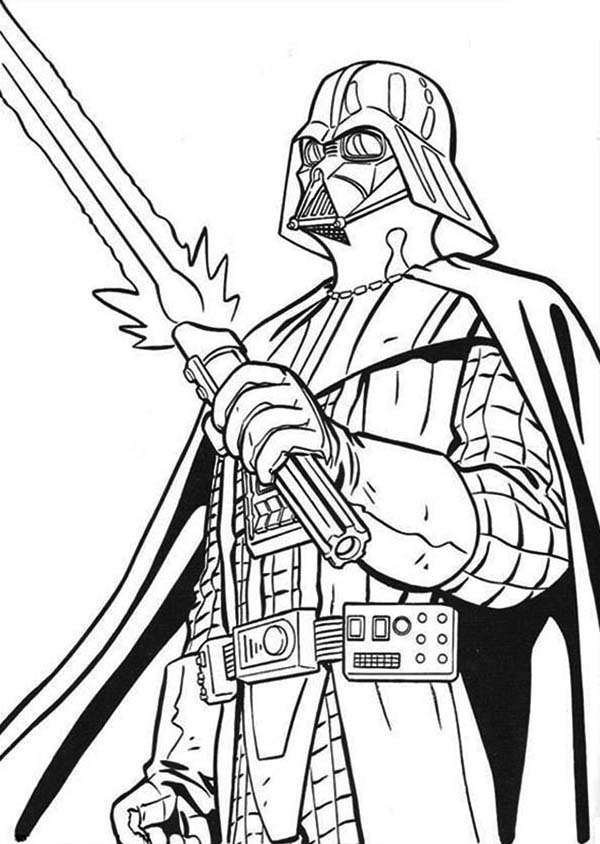 600x844 The Terrifying Darth Vader With Light Saber In Star Wars Coloring