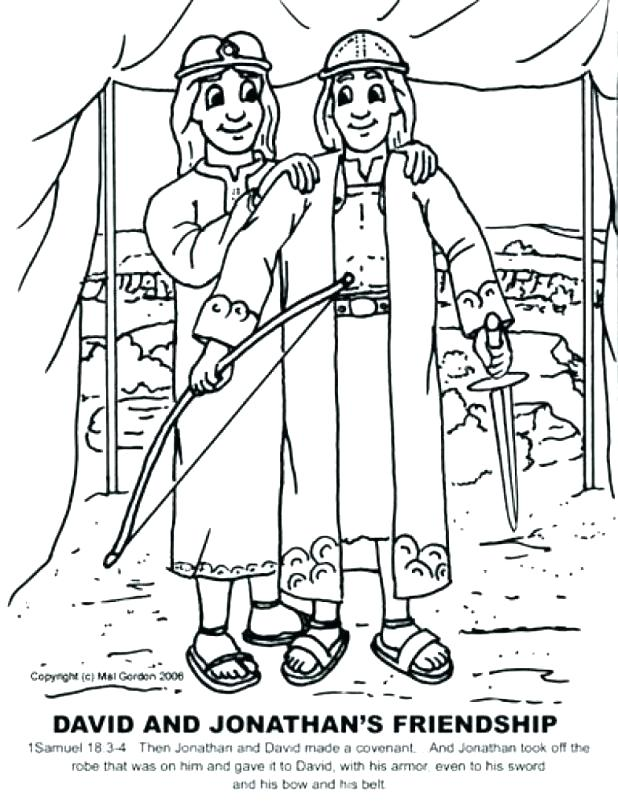 David And Jonathan Coloring Pages | David bible, David and ... | 805x618