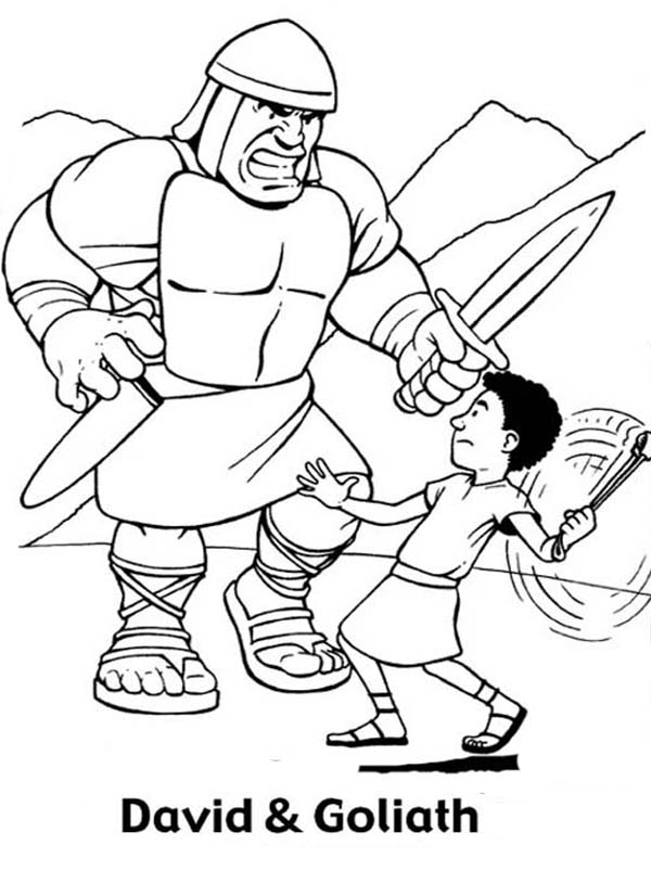 600x803 Great Battle David Versus Goliath In The Bible Heroes Coloring