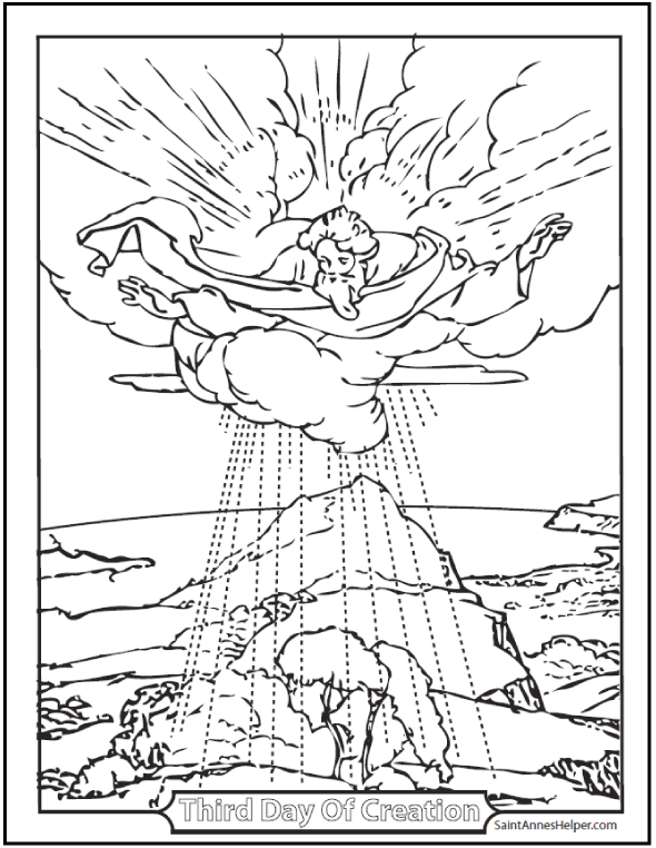 590x762 Creation Coloring Sheet The Third Day
