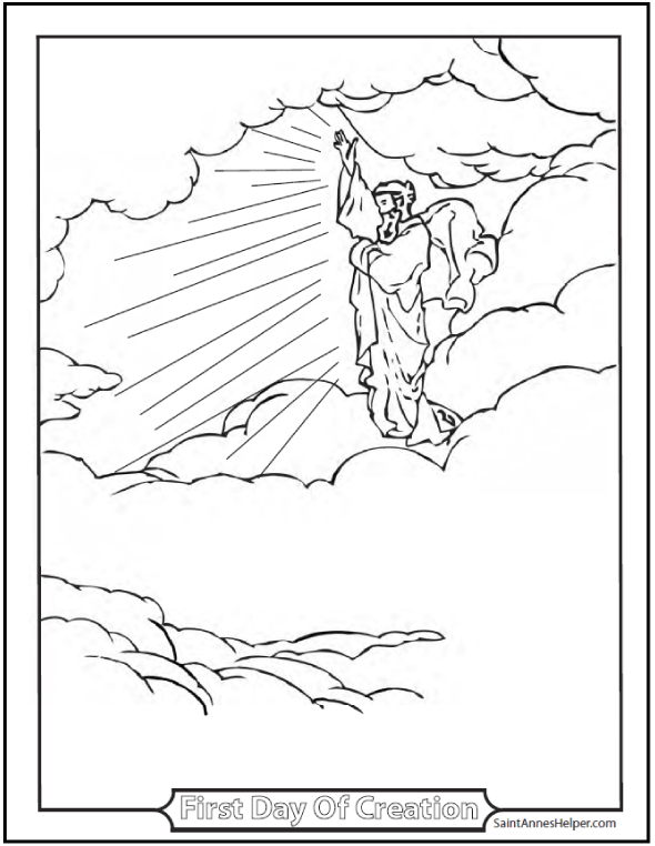 590x762 Creation Coloring Pages God Created Heaven And Earth
