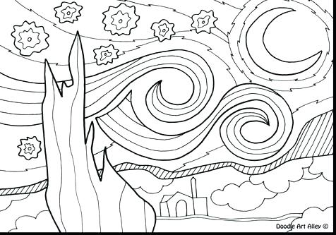 476x333 Starry Night Coloring Pages Van Trend In Page Idea