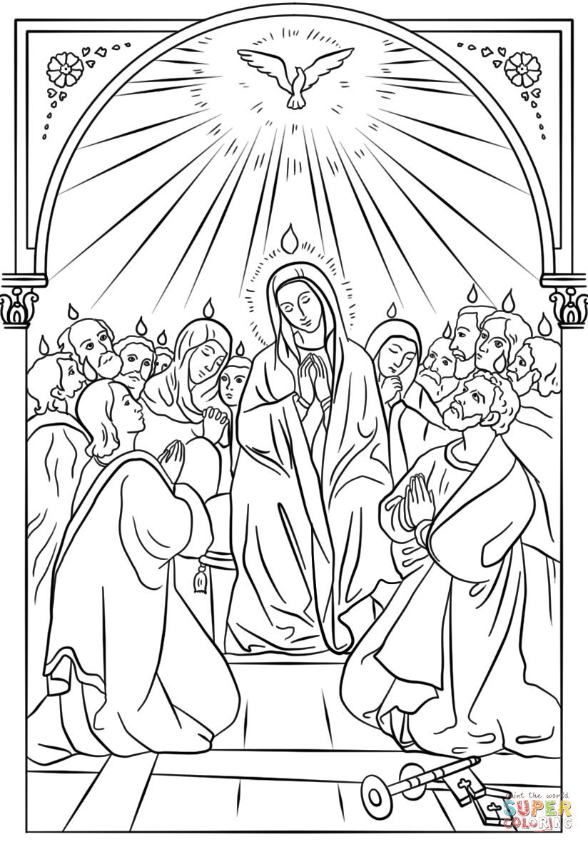 824x1186 Pentecost Coloring Page