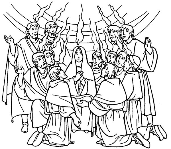 600x523 Celebrate Commerating Of Holy Spirit In Pentecost Coloring Page