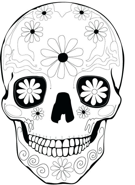 569x782 Dia De Los Muertos Coloring Sheets Day Of The Dead Skull Coloring