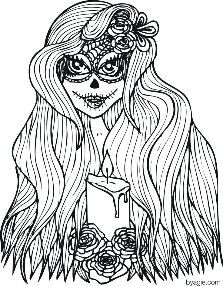 Day Of The Dead Coloring Pages For Adults At Getdrawings Com Free